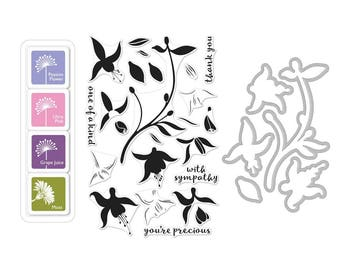 Hero Arts Color Layering Fuchsia Bundle SB137 - Stamps - Dies - Ink Cubes