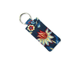 Key Chain Lip Balm Holder - Travel Soap w Carrier - Attach to Bag or Purse - Pocket Soap - Navy Blue Floral Print Cotton Fabric - Hand Sewn