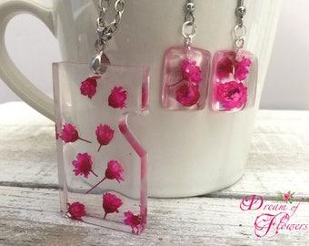 Cyclamen Flowers set-Handmade-Resin/cyclamen flower Jewelry-handmade-resin