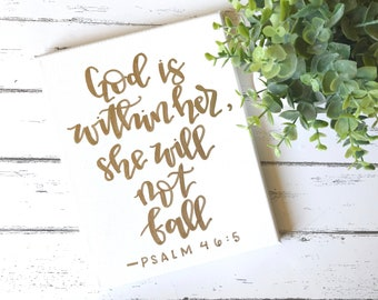 God is within her, she will not fall- 8x10 canvas, canvas quotes, Bible verse canvas, gifts for her, graduation gift, scripture quote