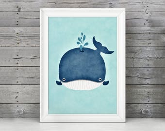 Whale Nursery Art, Whale Nursery Print, Whale Nursery Decor, Navy Nursery, Whale Watercolor, Boy Nursery Decor, Cute Whale, Baby Whale Art