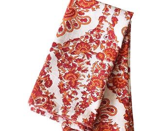 "Red Orange Damask Block Printed Table Napkins Set of 6 Set of 12 Cotton Cloth Napkins Damask Print Napkins 20x20"" Table Napkin"