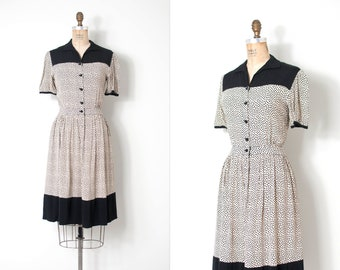 vintage 1940s dress | 40s clover print rayon dress | black and white (small s)