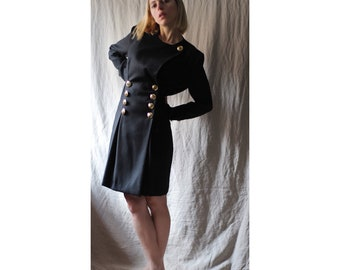 90s double breasted dress / black blazer dress / jacket dress / little black dress / small dress / trevira dress / XS / S /