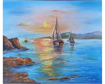 Sea view-Handmade Acrylic painting on canvas-seascape painting-decorative -realistic-romantic painting-acrylic painting-wall hangings-decor