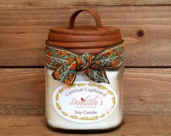 Candle - Colonial Cupboard - Soy Candle, White Candle, Harvest Spice Candle, 8 oz Candle, Mason Jar Candle, Soy Container Candle,