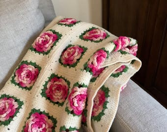 Vintage Chunky Granny Square Afghan, Lap Blanket, Floral Throw, Crochet Wool, 3 Dimensional Roses, Shabby Cottage Charm