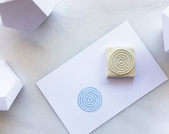 Handmade spiral circles, concentric circles rubber stamp, hand carved rubber stamp