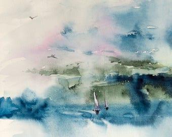 Original contemporary seascape watercolor - abstract art - nautical art - sailboats and birds on the ocean - original painting