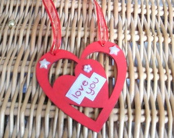 Painted wooded personalised hearts