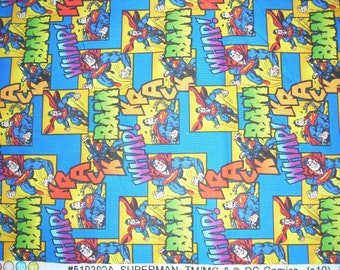 Superman on dark blue - Cotton Fabric - 30 1/2 inches long by 43 inches wide