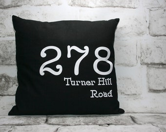 Custom Street Address Pillow Cover, 16x16