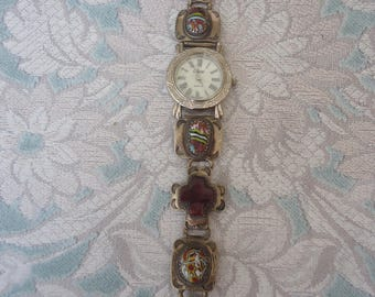 """Vintage Southwestern Collezio Watch, Sterling Silver Band w/ Sugalite Gemstone Crosses and Oval Mosaic Beads, New Battery, 7 1/8"""" Long"""