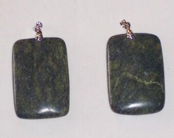 Russian Serpentine rectangle bead pendant beads 45x30