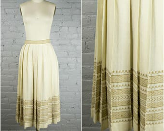 vintage 1950s skirt . light cream ivory pleated wool skirt . 50s embroidered midi skirt . medium large