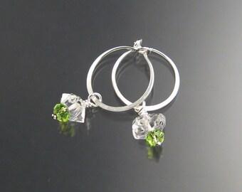 Natural Quartz Crystal Birthstone Hoop Earrings August birthstone Peridot Green Hoops in Sterling silver