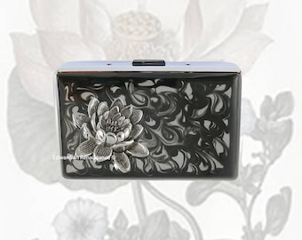 Lotus Flower RFID Metal Wallet Inlaid in Hand Painted Black Enamel Zen Insired Credit Card Case Personalized and Color Options