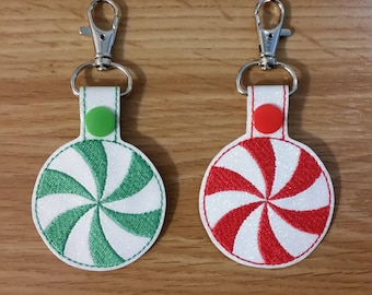 Embroidered Peppermint Candy Swirl Key Chain Fob