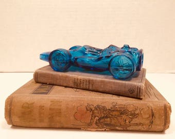 Avon Blue Glass Race Car Cologne ~ Aftershave Bottle