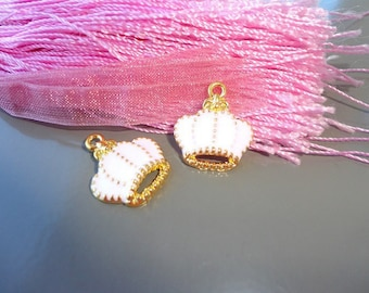 enameled gold charms form white crowns, white and Gold Crown charm