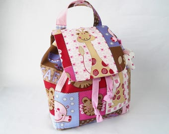 Backpack child pink safari, giraffe, nursery bag