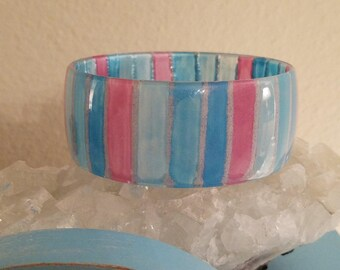Vintage 70s Handpainted Acrylic Pink Aqua Blue Stripe Bangle Bracelet