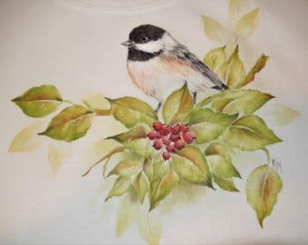 Chickadee and Winter Berries on White Sweatshirt