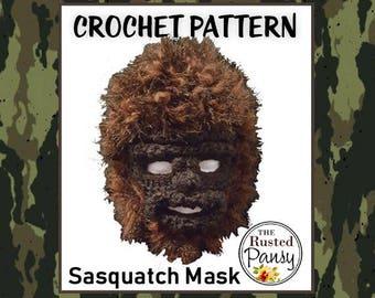 PATTERN - Sasquatch Mask Crochet PATTERN, Instant Download