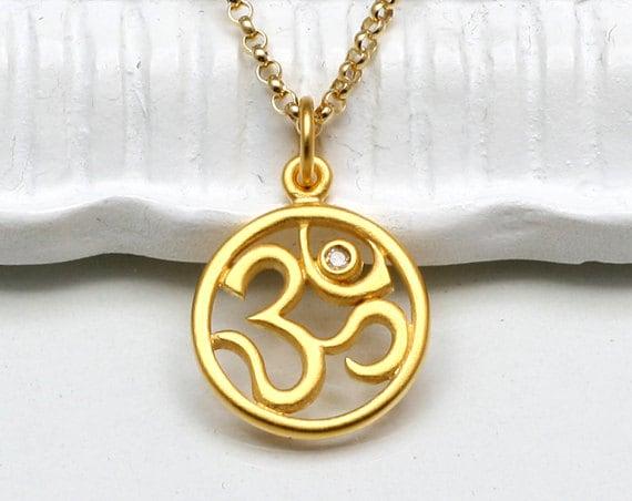 Diamond om pendant necklaceohm 24k gold vermeil pendant14k zoom aloadofball Gallery