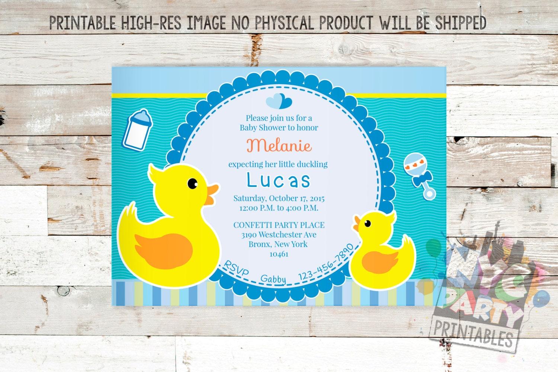 Rubber Ducky Baby Shower Invitation Boy Baby Shower