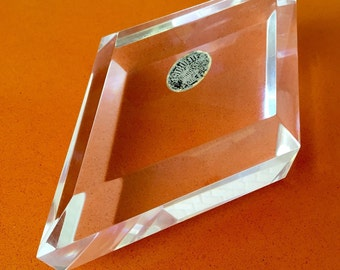 Vintage Astrolite Products by Ritts Co. Los Angeles Acrylic Lucite Thick Chunky Diamond Paperweight