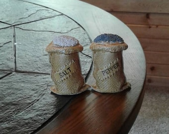 Vintage Burlap sack salt and pepper shakers