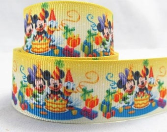 5 YDS Mickey Mouse Happy Birthday Ribbon