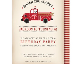 Vintage Fire Truck Birthday Invitation, Fire Truck Invitations, Firetruck Invitation, Dalmatian Invite, Fireman invitation