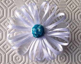 Brooch with white satin handmade