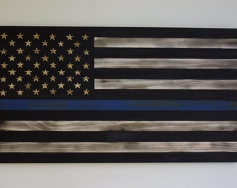 Thin Blue Line Rustic American Flag With Hand Engraved Stars