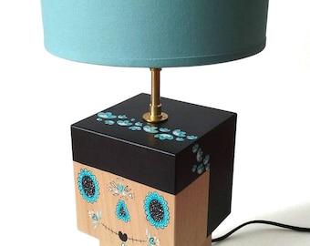 Grande lampe Calavera bleue et noire