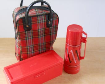 Vintage Picnic Lunch Bag Thermos and Food Box • Mid Century Lunch Tote • Travel Picnic Set