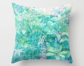 Abstract foliage pillow, turquoise pillow, aqua floral art pillow, floral pattern sofa pillow, turquoise cushion, layered texture  design