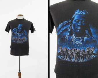 Vintage 90s Native American T-shirt Vancouver Canada Wolf Pack Faded Black - Size Small