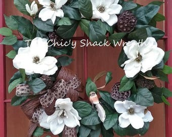 Spring Magnolia Wreath,Farmhouse Wreath For Front Door,Summer Wreath,Southern Charm,Magnolia Wreath,A Touch of Class, Large Elegant Wreath