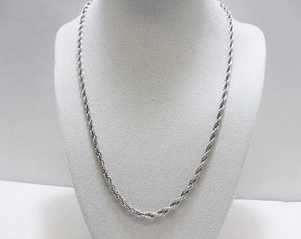 Italy 925 Twisted Rope Chain / 19 Inch Sterling Silver Unisex Chain / Signed SU With 925 Italy