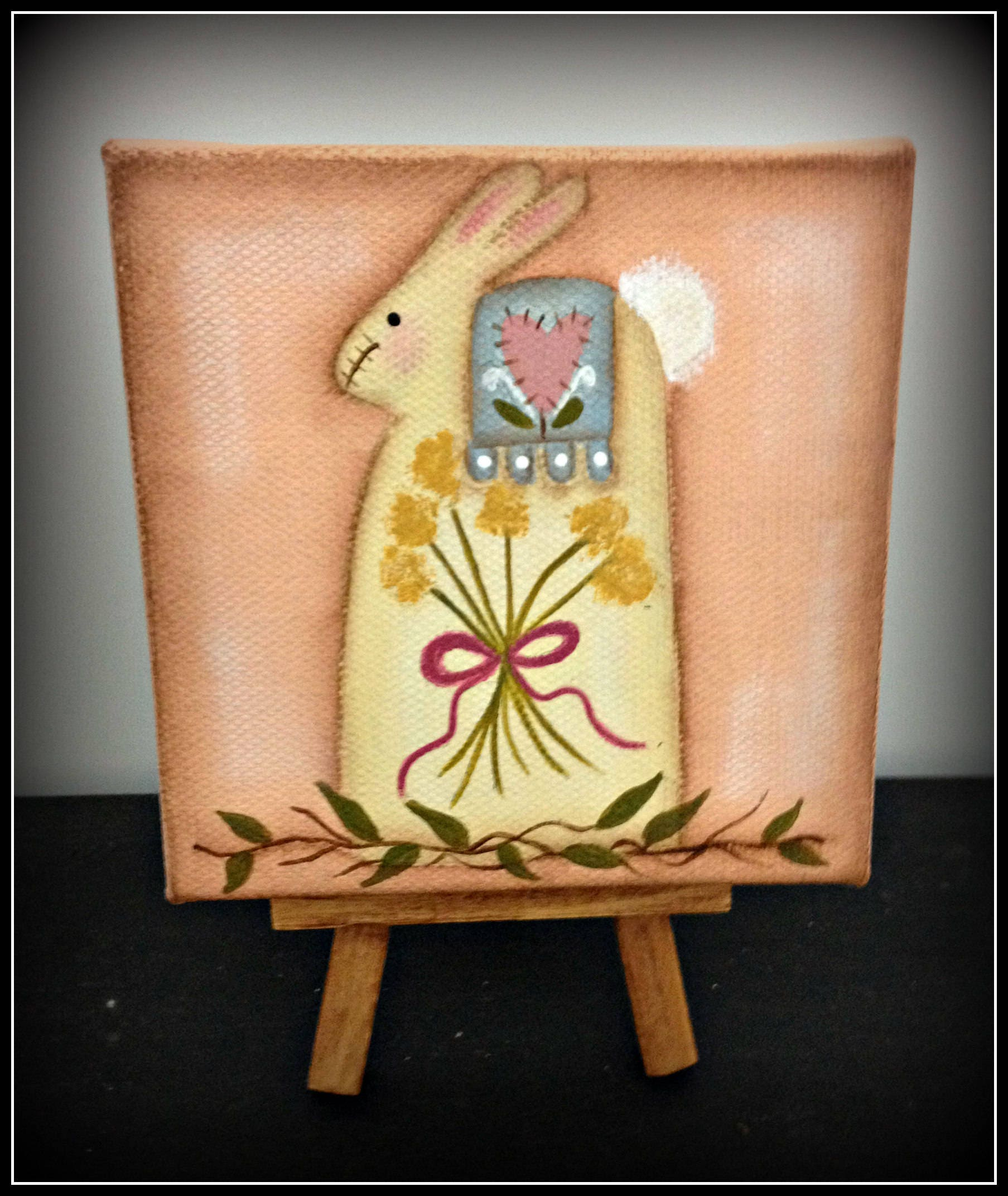 Primitive Easter Bunny 4 x 4 Wrapped Canvas Wood Easel Spring