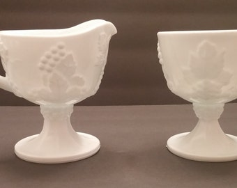 Indiana Glass Harvest Grape and leaves Milk Glass Sugar and Creamer Set