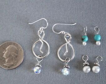 Charm earrings- silver earrings- pearl earrings- turquoise earrings- crystal earrings- bridal earrings- wedding earrings- boho earrings