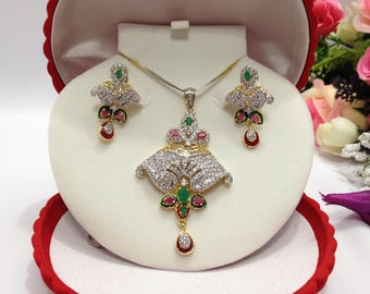 CZ American Dimonds Heavy Gold Plated Rhodium Plated Cubic Zirconia Bridal Jewelry Pendant Set Handmade Indian Jewelry