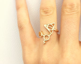 "Harry Potter ring with glasses, lightning and the deathly hallows symbol ""Always"""
