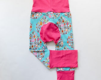 Jewel Drops and Fuchsia/Pink Baby Big Butt Pants - Grow with me pants - Cloth diaper friendly - Toddler - Gift