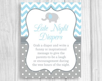 Late Night Diapers 5x7, 8x10 Printable Elephant Baby Shower Sign - Light Blue Gray Chevron and Polka Dots Funny Advice for Mom and Dad