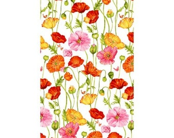 Poppy Garden Off White Poppies from Clothworks by the yard